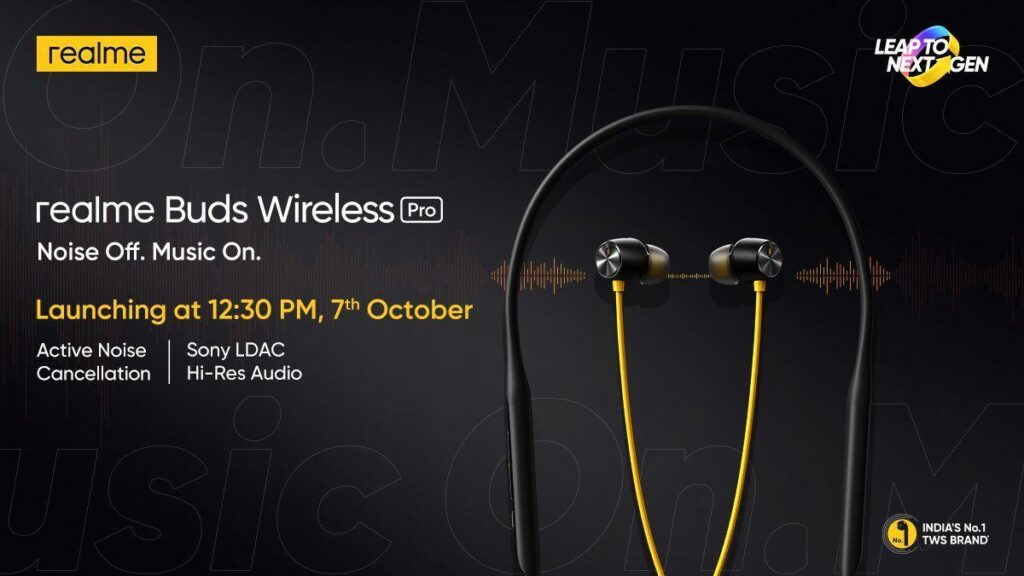 Realme Buds Air Pro to Launch on October 7 in India
