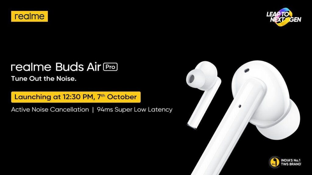 Realme Buds Wireless Pro to Launch on October 7 in India